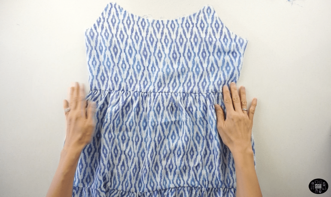 Pin to secure the top bodice and sew a straight stitch.