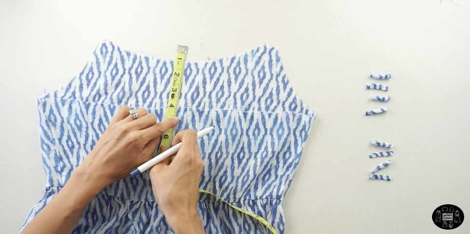 Measure the placement of each loop and space apart evenly down the top center back opening.