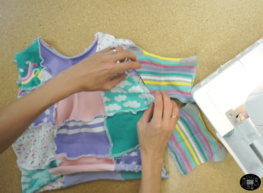 Pin to secure the sleeves to the bodice, then it's really easy to sew.