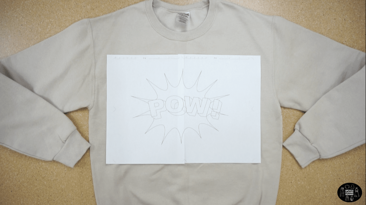 Positioning the POW drawing on the front of a sweatshirt