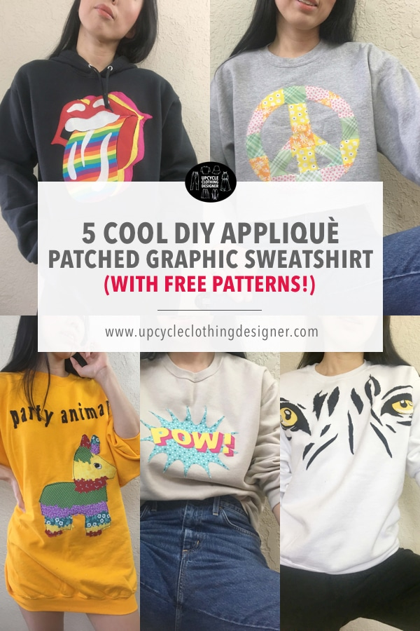 Cool diy applique patchwork graphic sweatshirts with free patterns