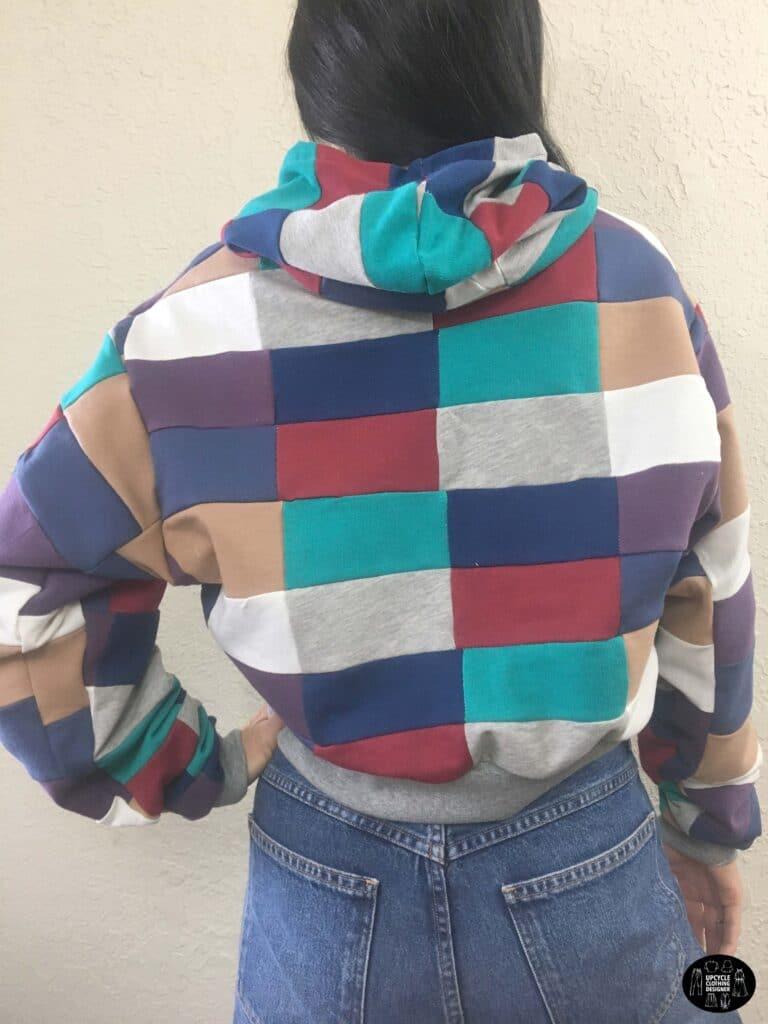 DIY patchwork cropped hoodie sweatshirt back