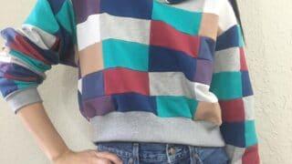 DIY patchwork cropped hoodie sweatshirt front