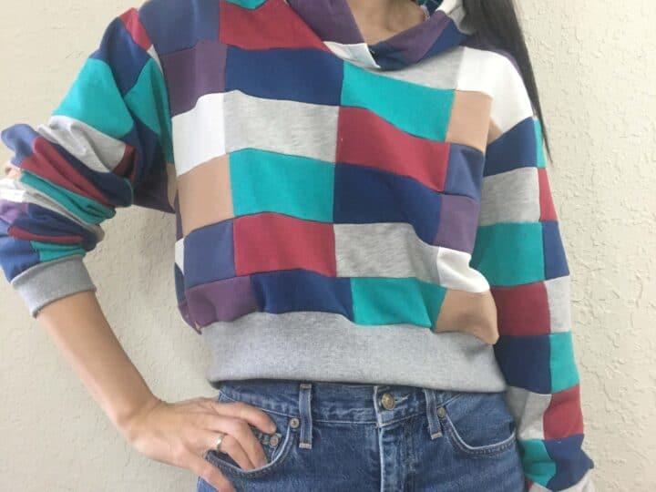 DIY Patchwork Cropped Hoodie Sweatshirt (With Free Sewing Pattern)