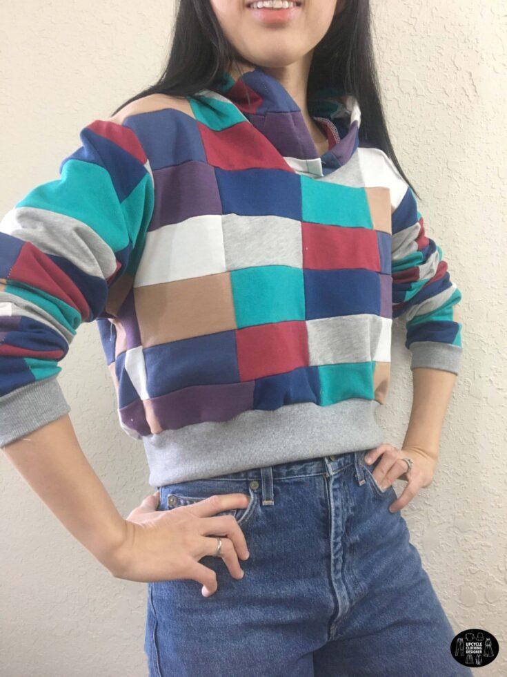 DIY patchwork cropped hoodie sweatshirt side front