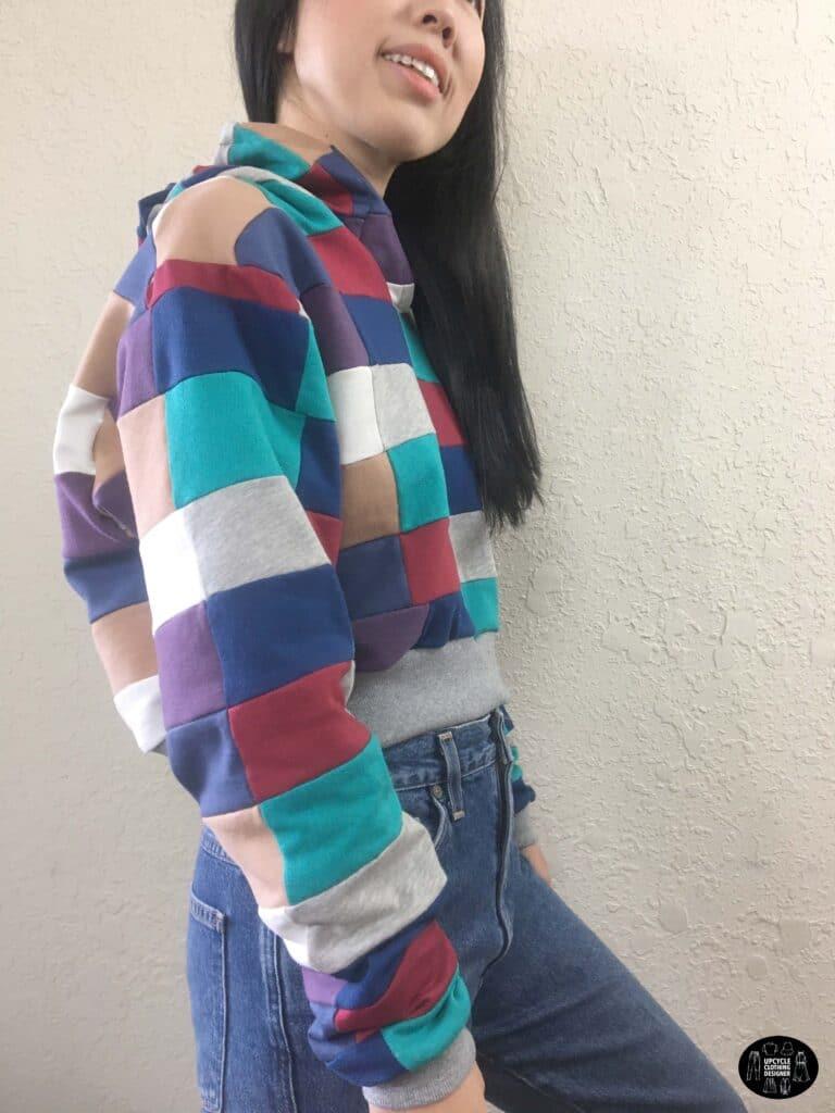 DIY patchwork cropped hoodie sweatshirt sideview