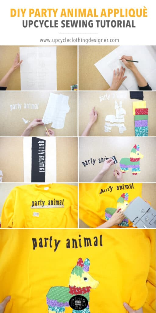 How to make party animal applique patchwork on a sweatshirt