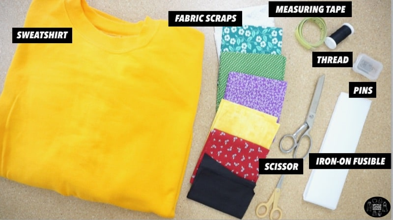 Materials to make a party animal applique patchwork