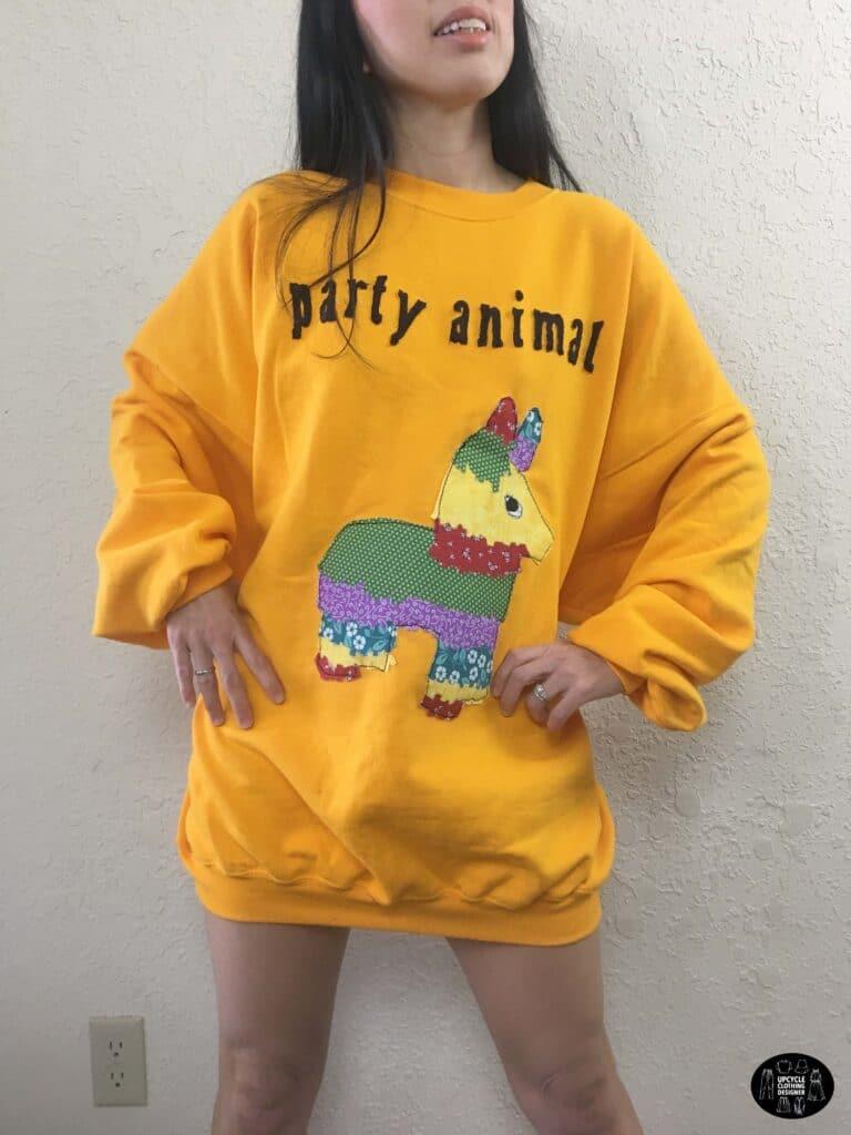 party animal applique sweatshirt dress front