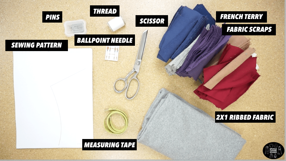 Materials to make a patchwork cropped hoodie sweatshirt