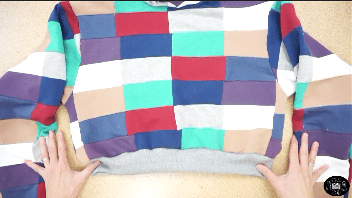 Finished waistband on the patchwork cropped sweatshirt