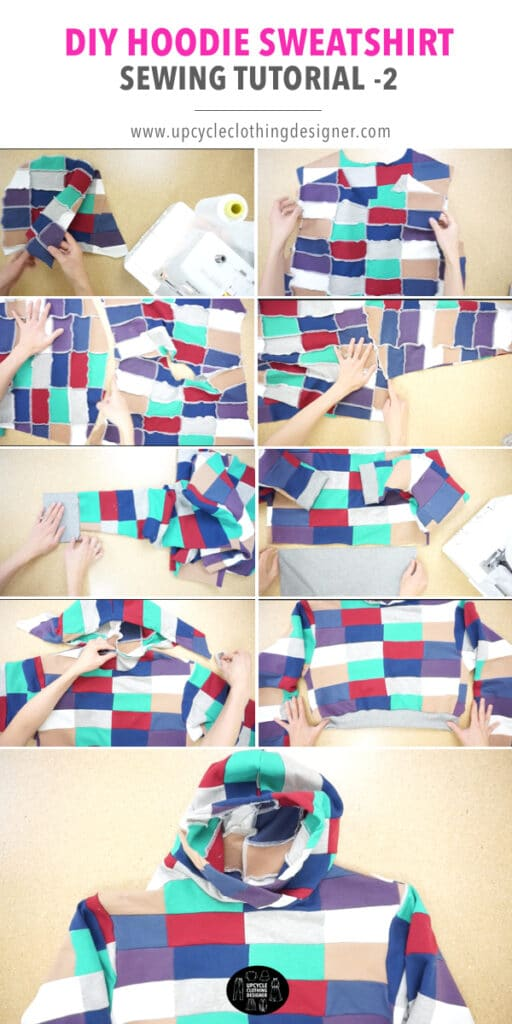 How to make a patchwork cropped hoodie sweatshirt