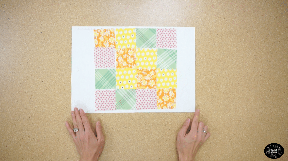 Layout the swatches to make a patchwork fabric