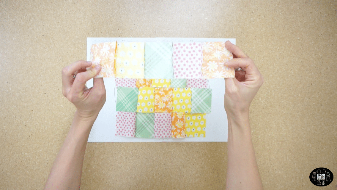 Connect the rows and columns of swatches to make a patchwork fabric