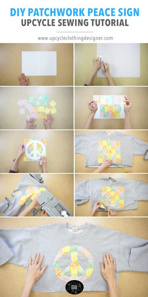 How to make patchwork peace sign applique on a cropped sweatshirt.