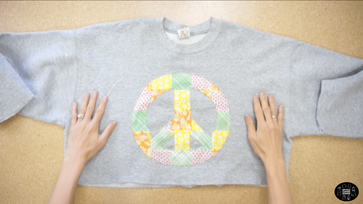 Finished peace sign applique patchwork