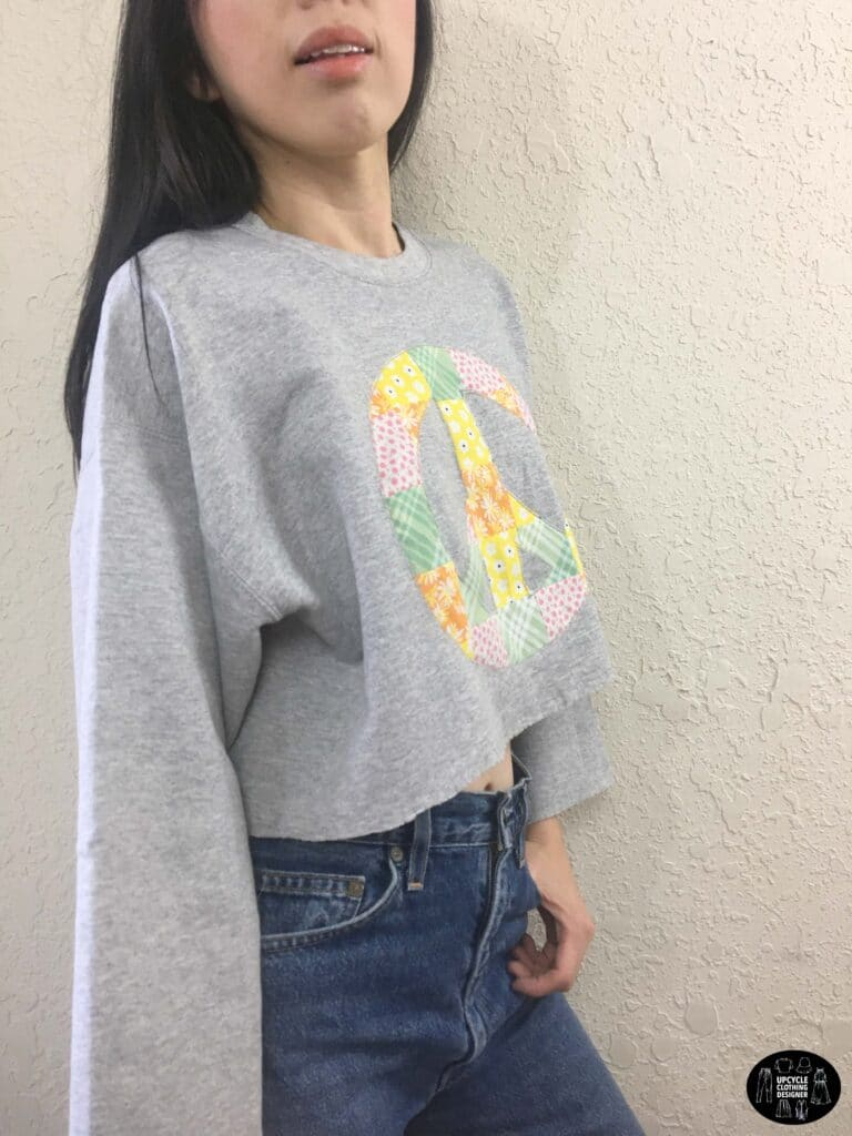Patchwork peace sign cropped sweatshirt side