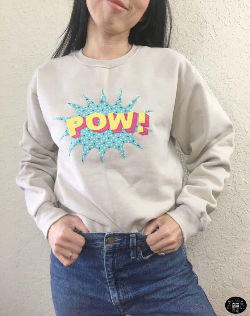 POW applique design sweatshirt front view