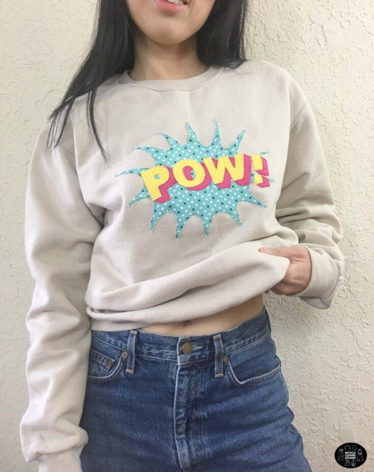 POW applique design sweatshirt