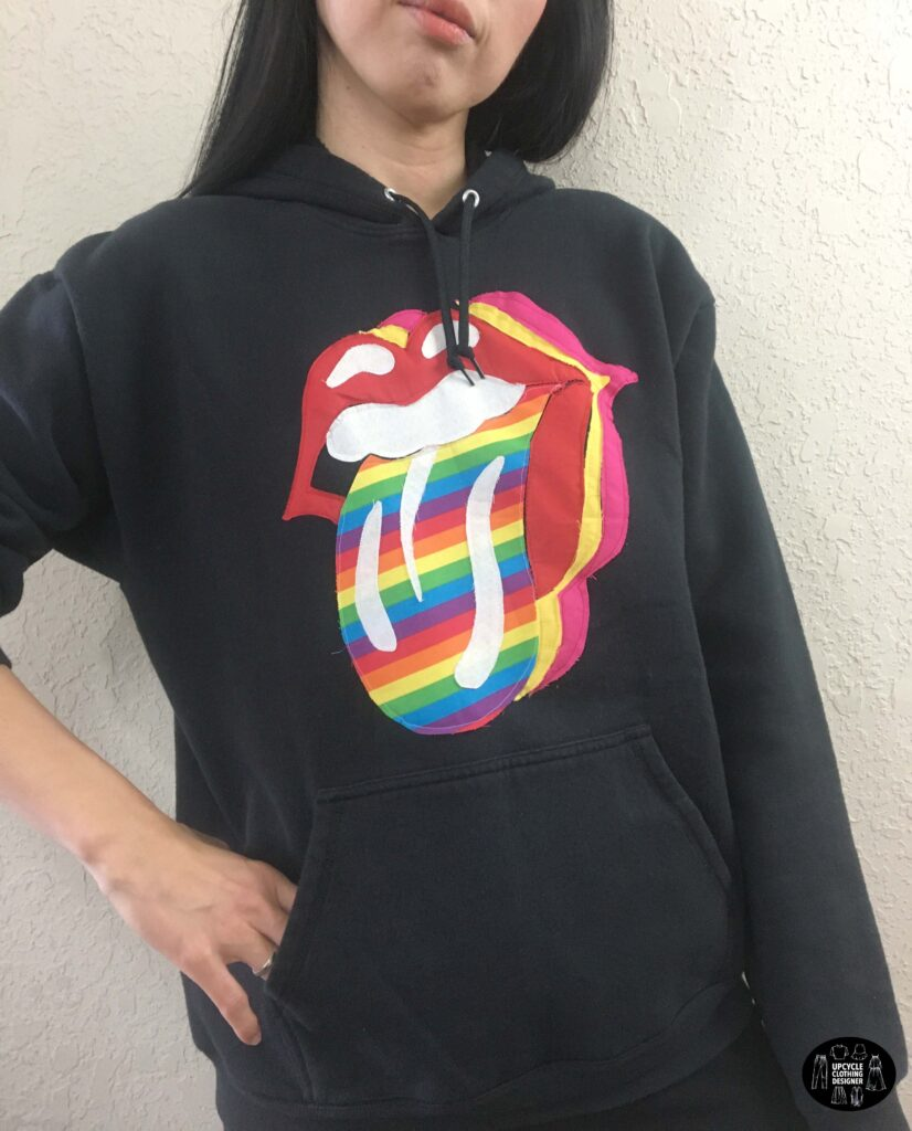 Rock n' roll tongue applique hoodie front view
