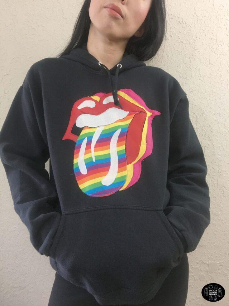 Rock n' roll tongue applique hoodie