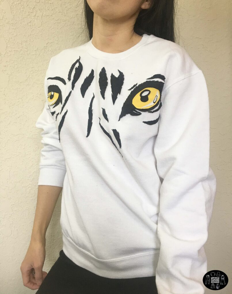 Tiger graphic applique oversized sweatshirt sideview