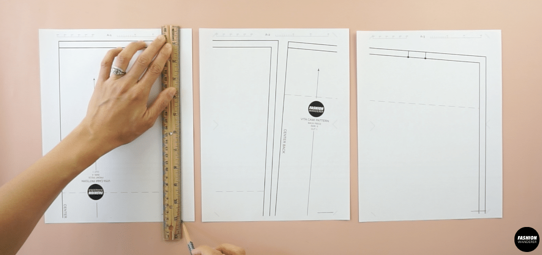 Draw a straight line along the edge on one side of the pattern.