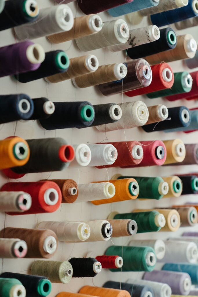 assorted colored cone threads