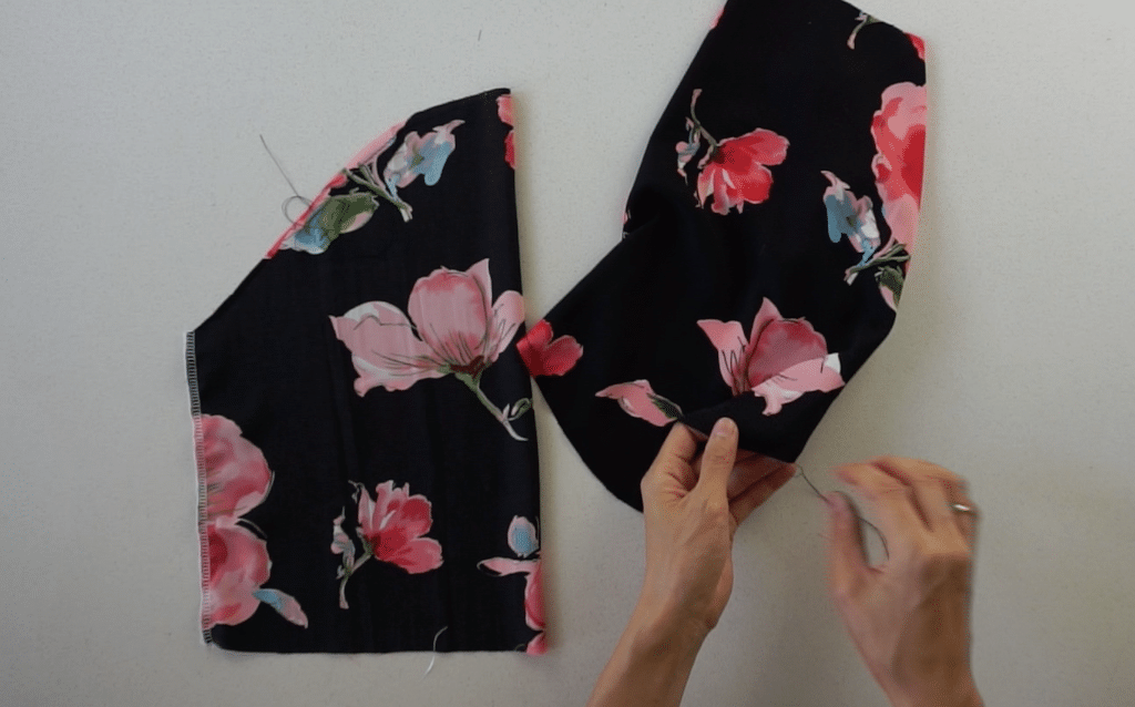 Flip the puff sleeve inside out and pull on the back thread to bunch the fabric.