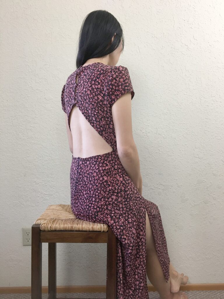 Fiore midi dress front, side and back view