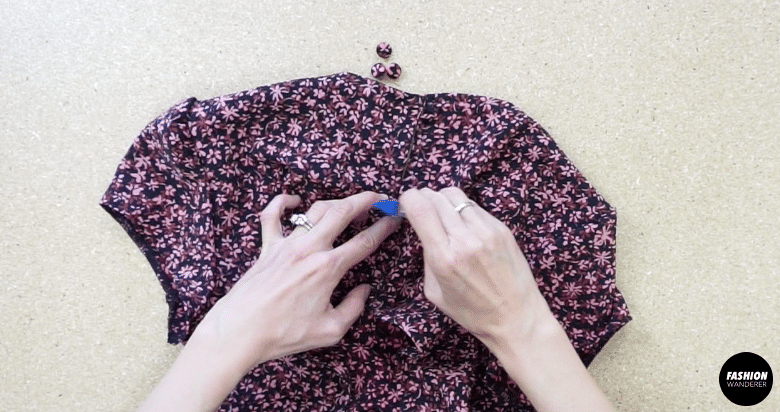 To add buttons to the back opening, lineup the buttonhole closure on the opposite side of the back opening.