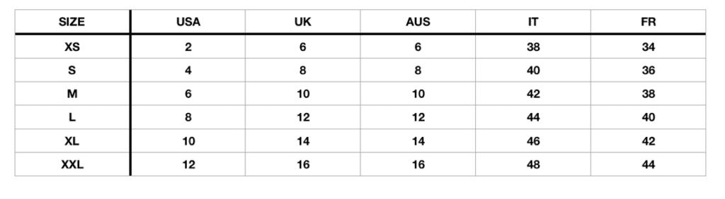 Fashion Wanderer numerical size chart