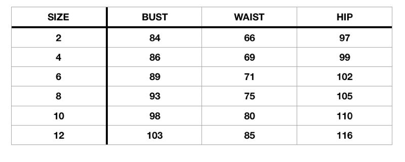 Fashion Wanderer size chart centimeters