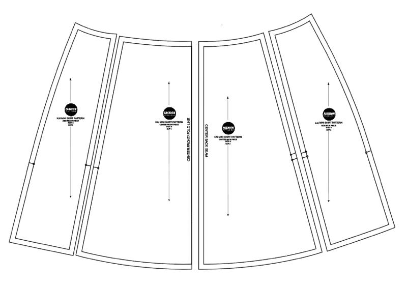kai knotched mini skirt sewing pattern