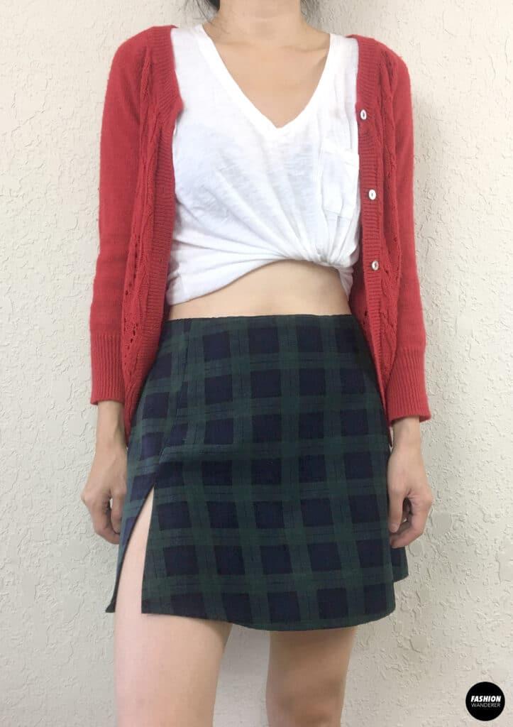 Kai Notched Mini Skirt front view