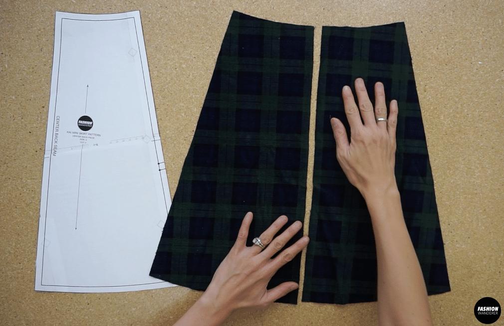 Kai notched mini skirt back center skirt piece