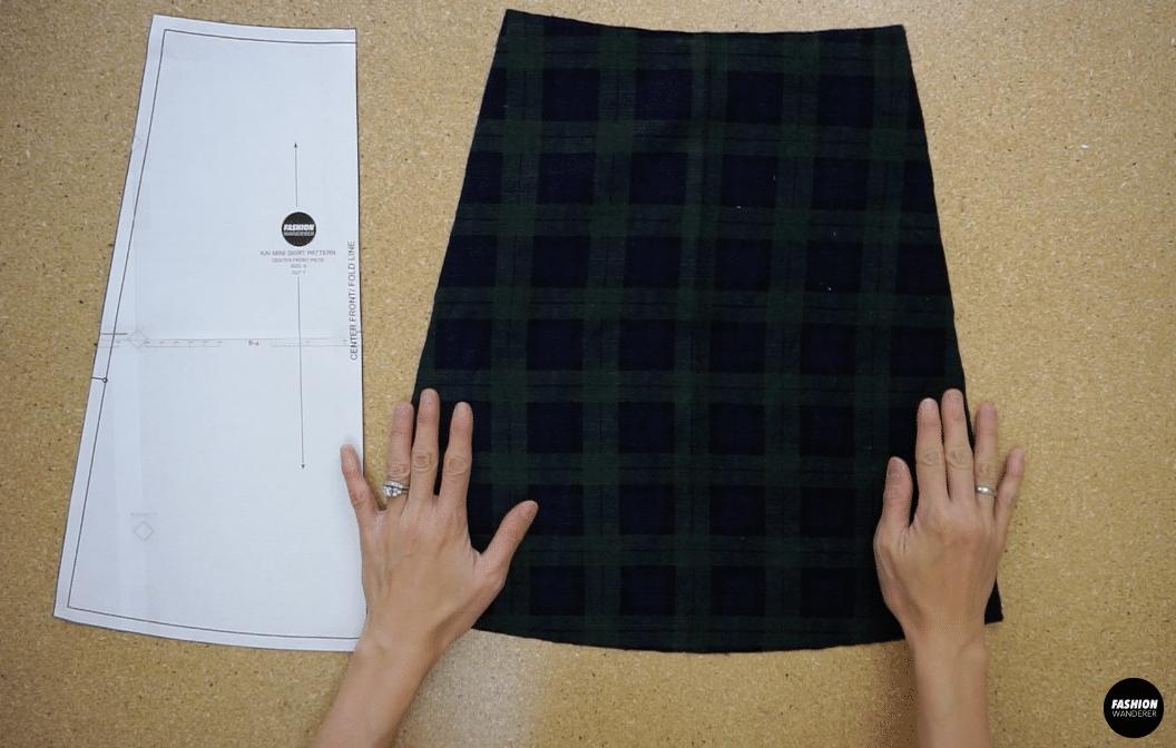 Kai notched mini skirt front center skirt piece