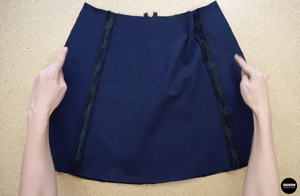 Attach the front skirt piece to the back skirt piece