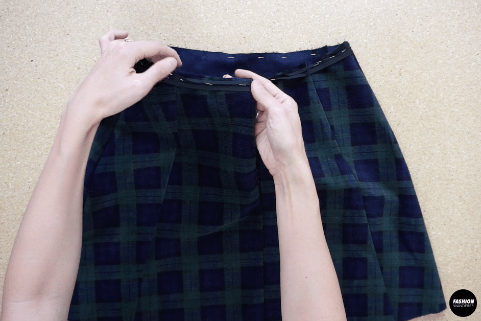Sew along the biased strip.