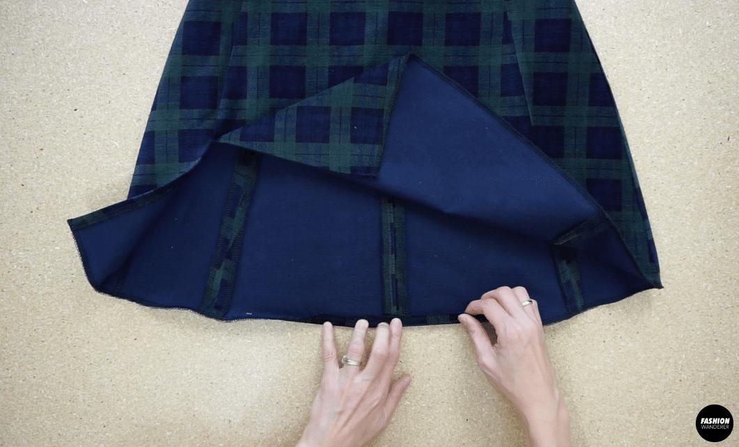Fold the hemline, and then topstitch the hem