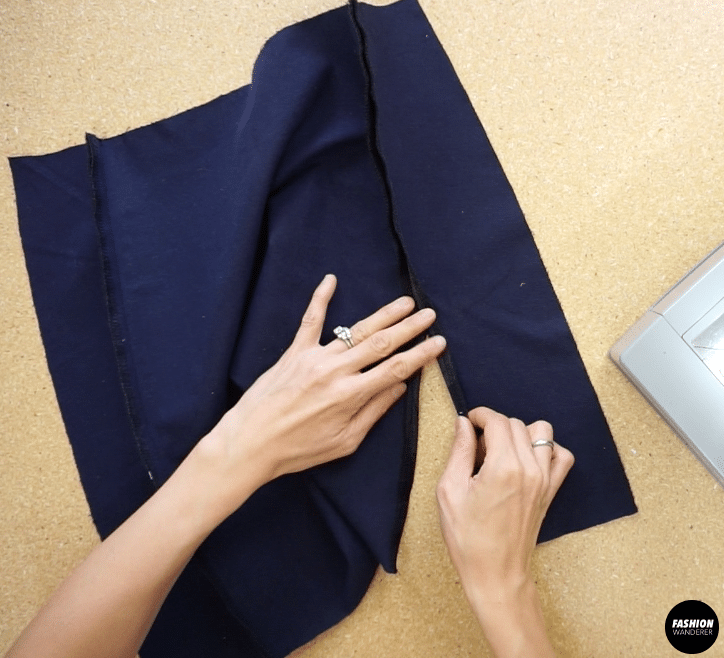 """¼"""" fold the edge and topstitch around the side slit opening"""