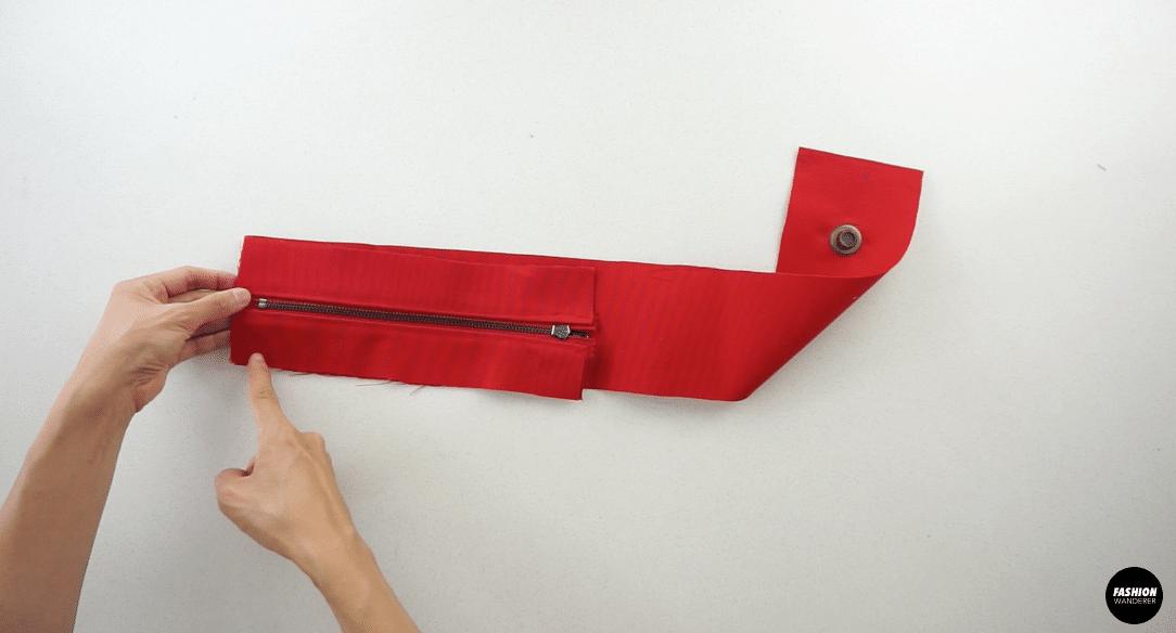 Attach the zipper placket to the bottom purse piece.