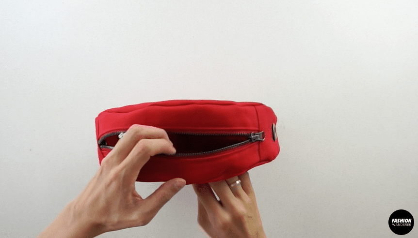 Flip the circle purse inside out.