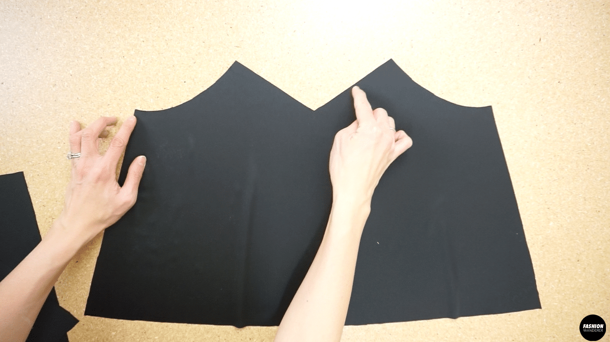 Use overlock stitch to secure the neckline of the front piece
