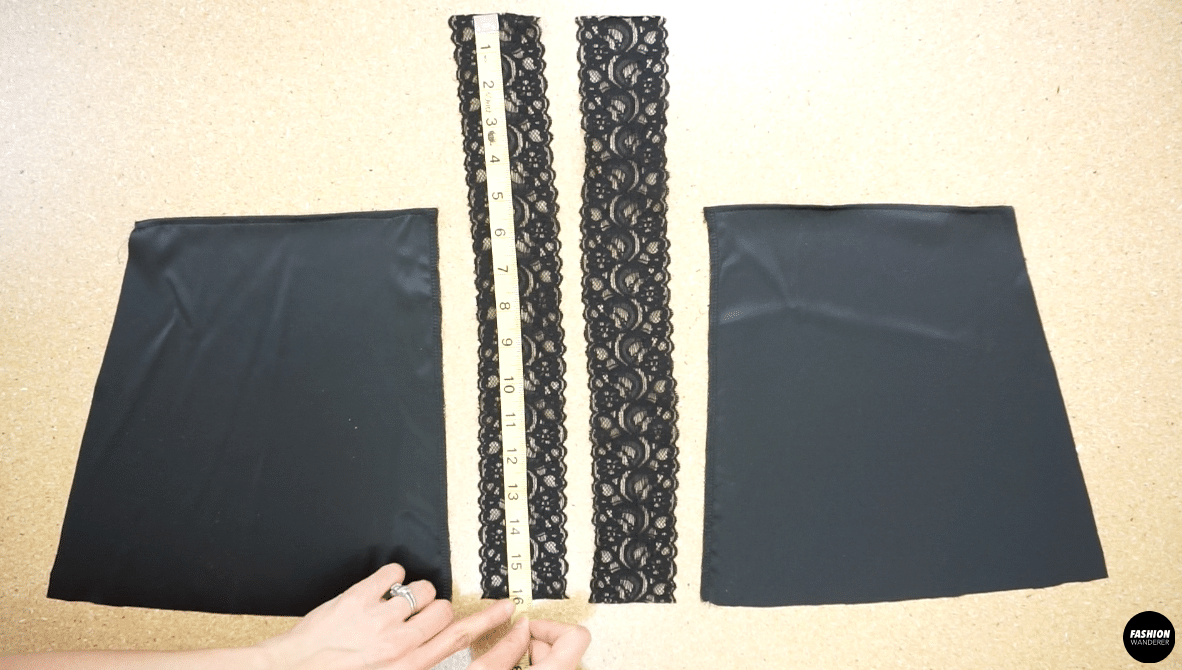 Attach the lace trim to both sides of the center back opening.