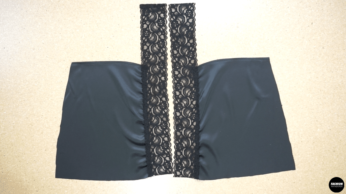 Center back with lace trim