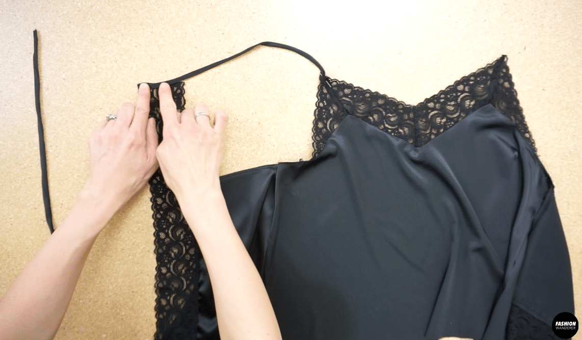 Join the shoulder strap to front of lace trim and the back lace piece.