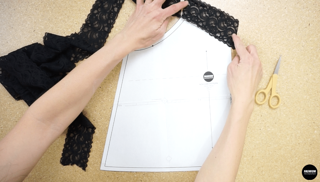 Copy the lace trim onto the v-neckline and under arm line.
