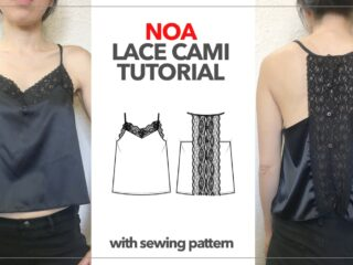 Noa lace trim camisole with sewing pattern thumbnail