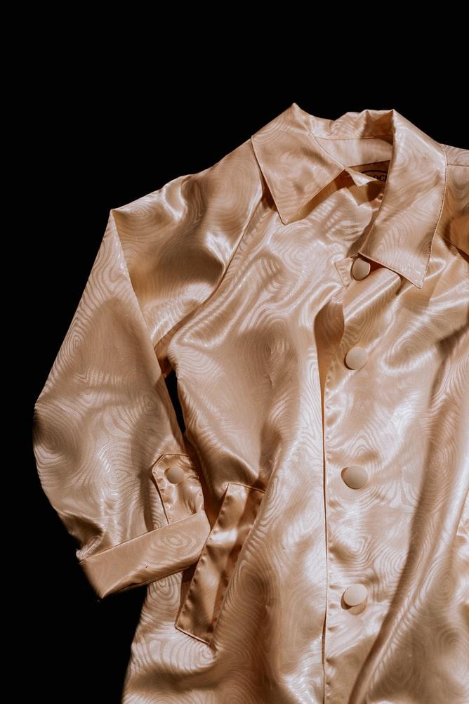 welt pocket on silk blouse